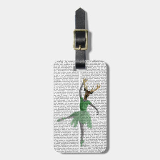 Ballet Deer in Green Luggage Tag