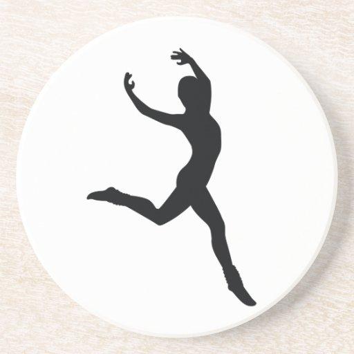 Ballet Elegant Dancing Black Silhouette Drink Coaster