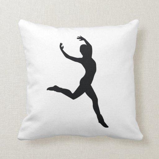 Ballet Elegant Dancing Black Silhouette Pillow