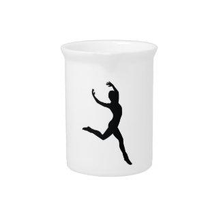 Ballet Elegant Dancing Black Silhouette Pitcher