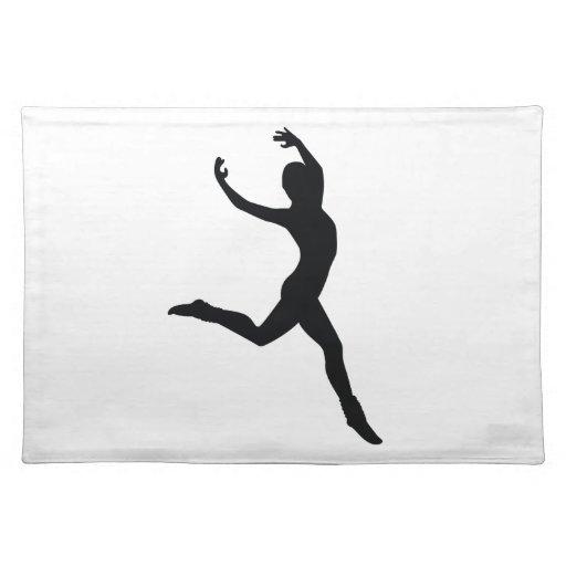 Ballet Elegant Dancing Black Silhouette Place Mat