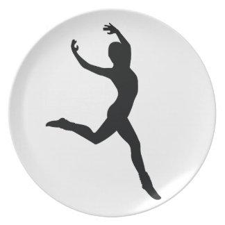 Ballet Elegant Dancing Black Silhouette Dinner Plate