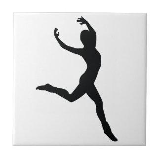 Ballet Elegant Dancing Black Silhouette Tile