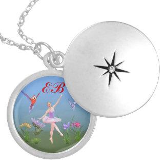 Ballet Fantasy, Flowers, Butterfly, Monogram Locket Necklace