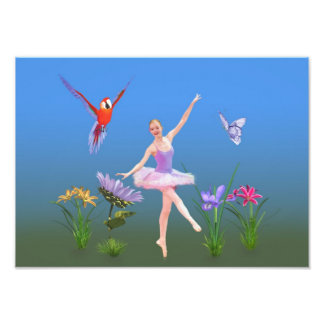 Ballet Fantasy, Flowers, Parrot, Butterfly Photo Art