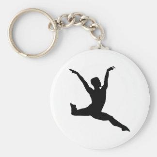 Ballet man basic round button key ring