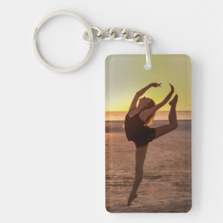 Ballet on the Beach Double-Sided Rectangular Acrylic Key Ring