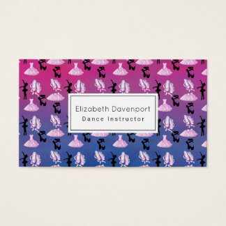 Ballet Pattern on Pink and Blue Gradient Business Card