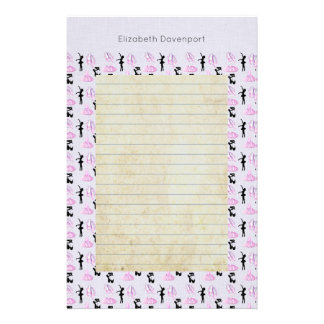 Ballet Pattern on Pink and Blue Gradient Stationery
