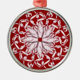 Ballet Pattern (pink) Silver-Colored Round Decoration