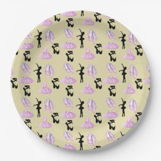 Ballet Pattern with Dance Attire and Ballerina Paper Plate