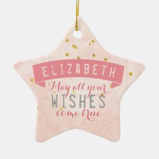 Ballet Pink Baby Wishes Ceramic Star Decoration