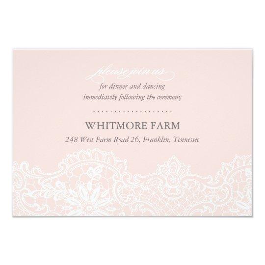 Ballet Pink Lace Wedding Enclosure Reception Card