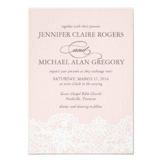 "Ballet Pink Lace Wedding Invitation 5"" X 7"" Invitation Card"