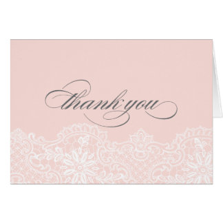 Ballet Pink Lace Wedding Thank You Card