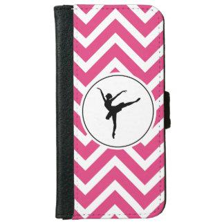 Ballet Pink White Chevron En Pointe Ballerina iPhone 6 Wallet Case