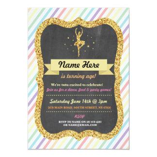 Ballet Rainbow Pink Gold Glitter Birthday Invite