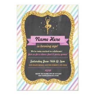 Ballet Rainbow Tutu Gold Glitter Birthday Invite
