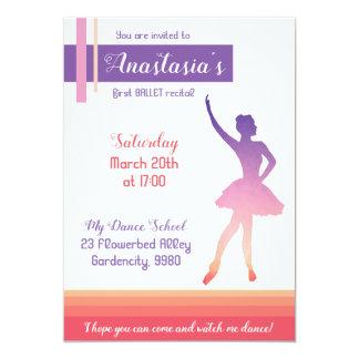 Ballet recital invitation, purple ballerina girl card