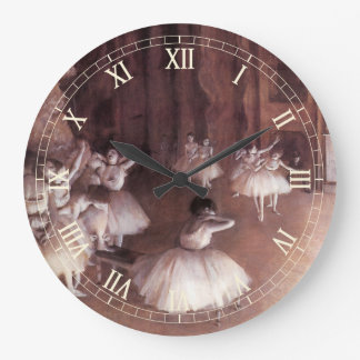Ballet Rehearsal on the Stage by Edgar Degas Large Clock