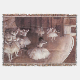 Ballet Rehearsal on the Stage by Edgar Degas Throw Blanket