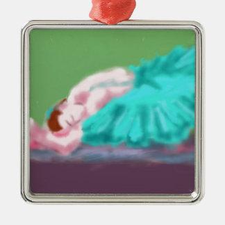 Ballet Resting Art Silver-Colored Square Decoration