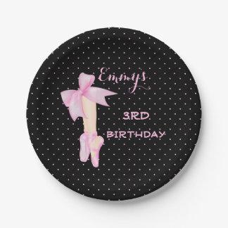 Ballet Shoes Ballerina Pink & Black Polka Dot 7 Inch Paper Plate