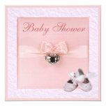 Ballet Shoes & Locket Girls Pink Baby Shower 13 Cm X 13 Cm Square Invitation Card