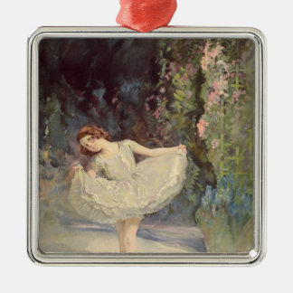 Ballet Silver-Colored Square Decoration