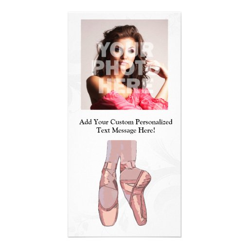 Ballet Slippers Toe Shoes Personalized Photo Card