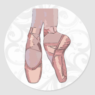 Ballet Slippers Toe Shoes Round Sticker