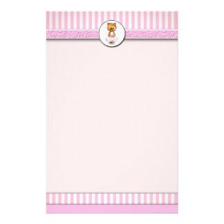 Ballet Teddy Bear Pink Candy Stripe Letterhead A4