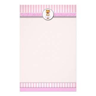 Ballet Teddy Bear Pink Candy Stripe Letterhead A4 Customised Stationery