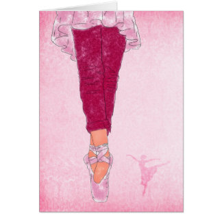 Ballet Theme in Pink and Rose Dancer Blank Card