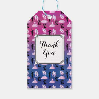 Ballet Theme Pattern with Dance Attire Thank You Gift Tags