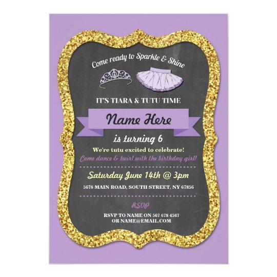 Ballet Tiara Tutu Purple Glitter Birthday Invite