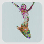 Ballette watercolor square stickers