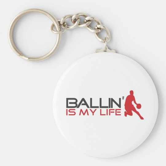 Ballin' is my Life Streetball Basic Round Button Key Ring