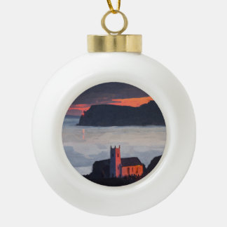 Ballintoy Church, Ireland at Sunset Ceramic Ball Christmas Ornament