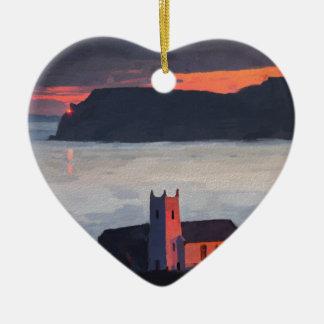 Ballintoy Church, Ireland Ceramic Heart Decoration