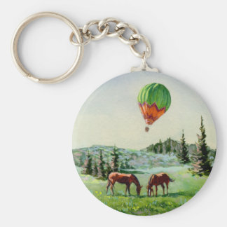 BALLON & HORSES by SHARON SHARPE Basic Round Button Key Ring