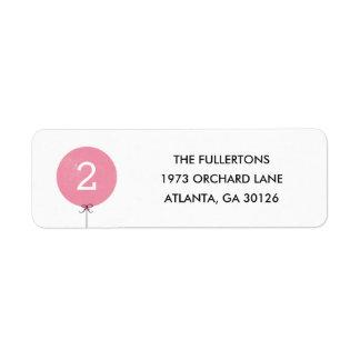 Balloon Address Label - Rose