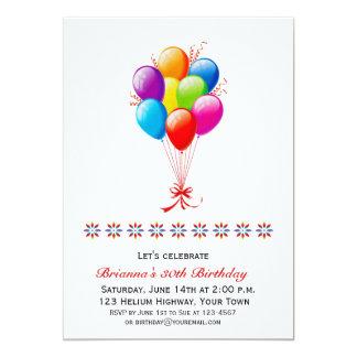 Balloon Bouquet, Birthday 13 Cm X 18 Cm Invitation Card