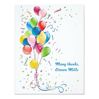 Balloon Bouquet Personalized Thank You Notecard 11 Cm X 14 Cm Invitation Card