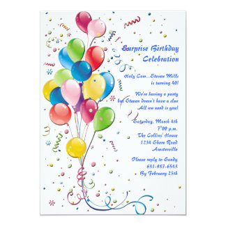 Balloon Bouquet Surprise Party Invitation