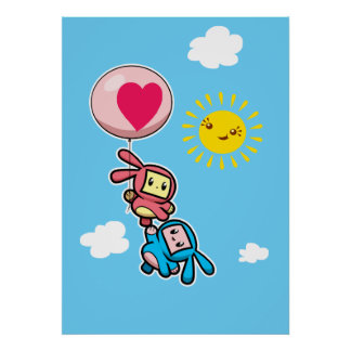 Balloon Bunny Posters