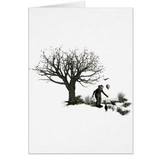 Balloon Clown Old Tree & Black Birds Original Card