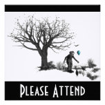 Balloon Clown Old Tree & Black Birds Turquoise Personalized Invitations