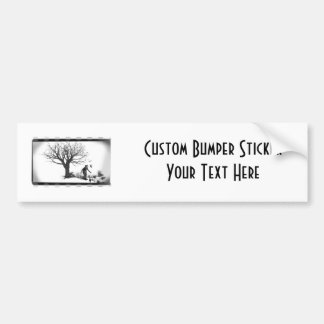 Balloon Clown & Ravens By Creepy Tree - B&W Bumper Sticker