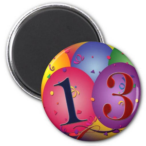 Balloon Decorations for 13th birthday 6 Cm Round Magnet
